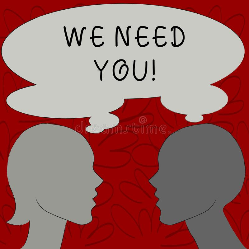 Text sign showing We Need You. Conceptual photo asking someone to work together for certain job or target Silhouette. Text sign showing We Need You. Business royalty free illustration