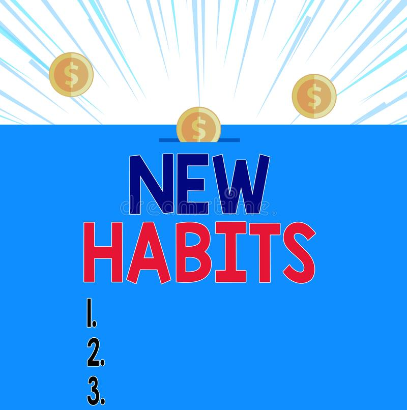 Text sign showing New Habits. Conceptual photo change the routine of behavior that is repeated regularly Front view vector illustration