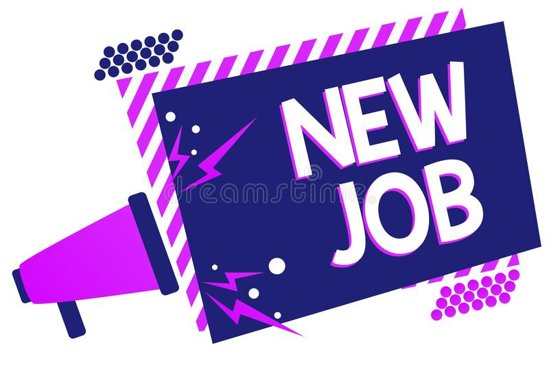 Text sign showing New Job. Conceptual photo signing contract Finding work opportunity Seeking better salary Megaphone loudspeaker. Purple striped frame royalty free illustration