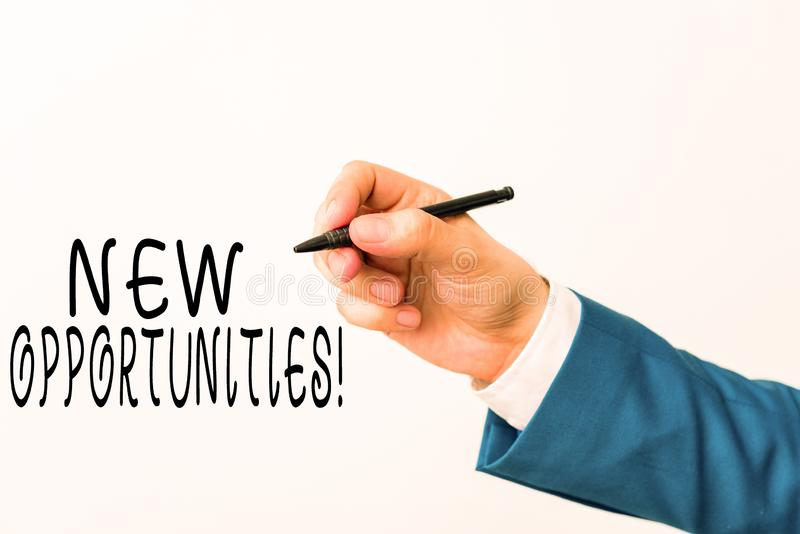 Text sign showing New Opportunities. Conceptual photo exchange views condition favorable for attainment goal Isolated. Text sign showing New Opportunities royalty free stock photos