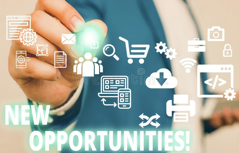 Text sign showing New Opportunities. Conceptual photo exchange views condition favorable for attainment goal Male human. Text sign showing New Opportunities royalty free stock image