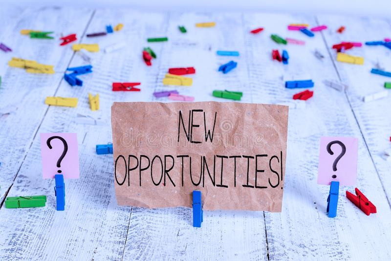 Text sign showing New Opportunities. Conceptual photo exchange views condition favorable for attainment goal Scribbled. Text sign showing New Opportunities stock photo