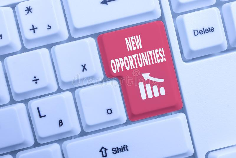 Text sign showing New Opportunities. Conceptual photo exchange views condition favorable for attainment goal White pc keyboard. Text sign showing New royalty free stock photos
