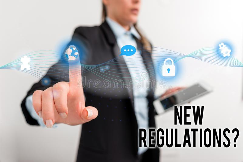 Text sign showing New Regulations Question. Conceptual photo rules made government order control way something is done. Text sign showing New Regulations royalty free stock photo