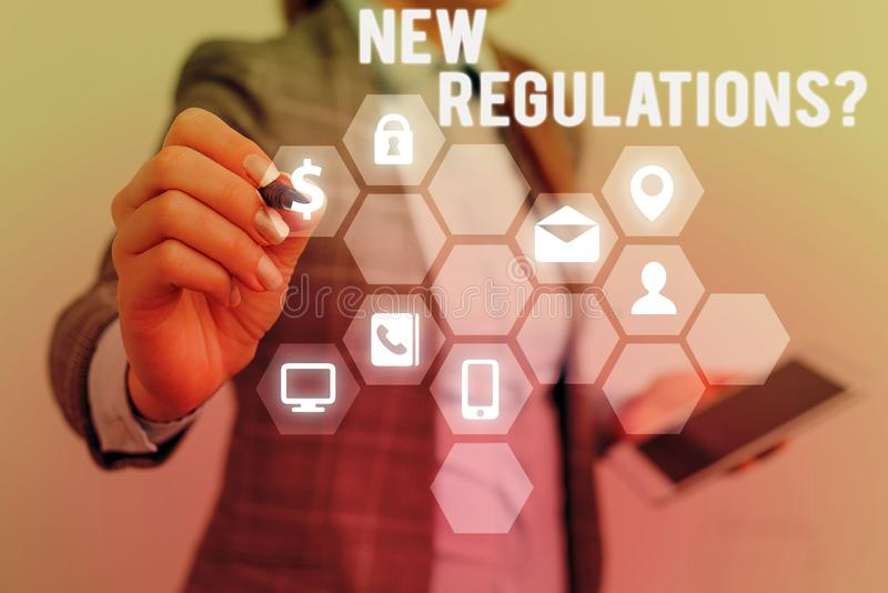 Text sign showing New Regulations Question. Conceptual photo rules made government order control way something is done. Text sign showing New Regulations royalty free stock photography