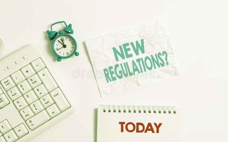 Text sign showing New Regulations Question. Conceptual photo rules made government order control way something is done. Text sign showing New Regulations royalty free stock image