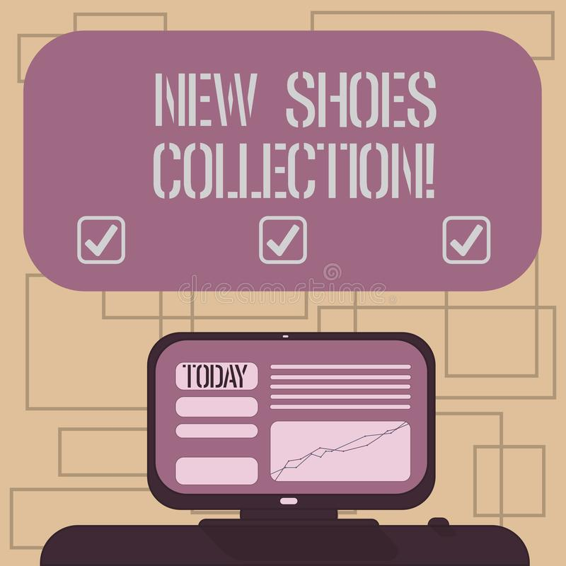 Text sign showing New Shoes Collection. Conceptual photo The process or passion of collecting new footwear Mounted Computer Screen stock illustration