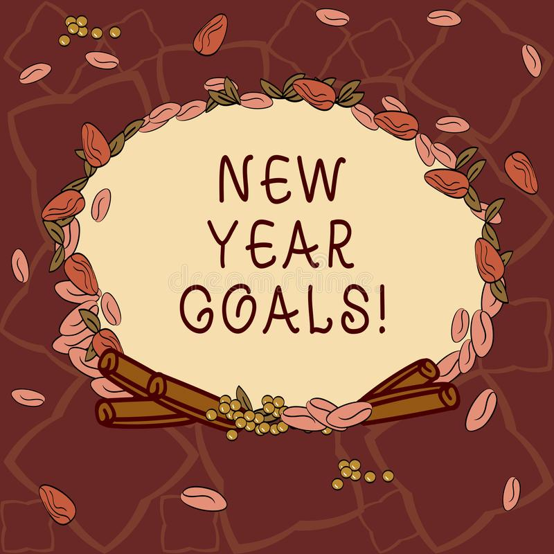 Text sign showing New Year Goals. Conceptual photo Resolutions for 365 days coming soon Motivation to change Wreath Made royalty free illustration