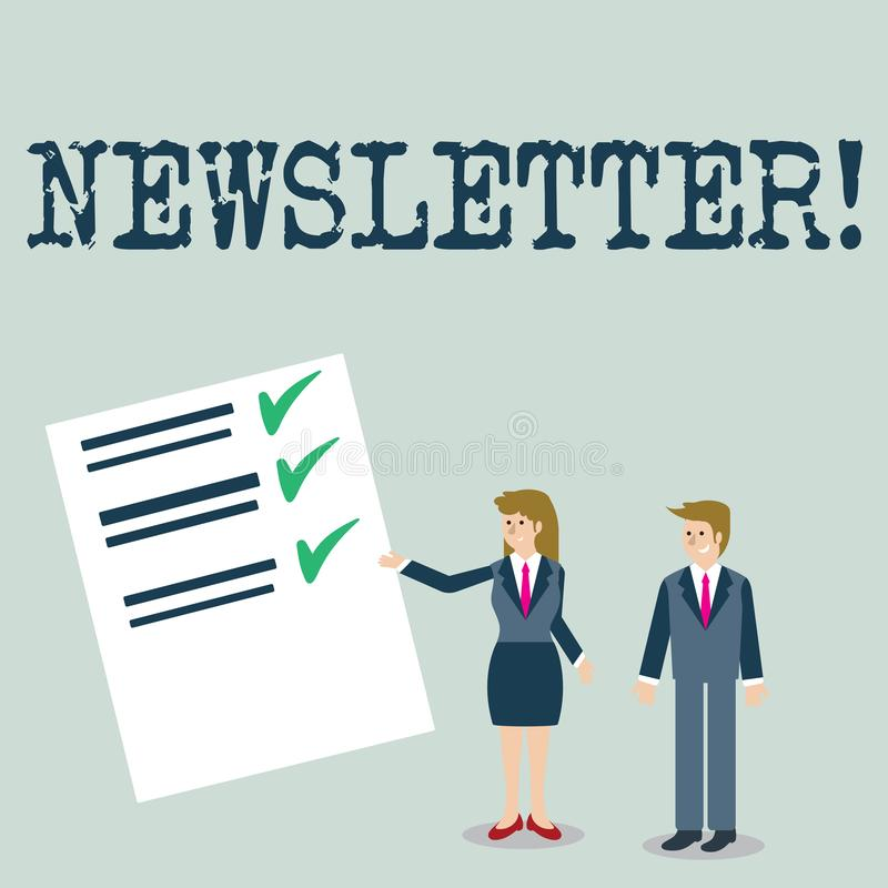 Text sign showing Newsletter. Conceptual photo Bulletin periodically sent to members of group. royalty free illustration