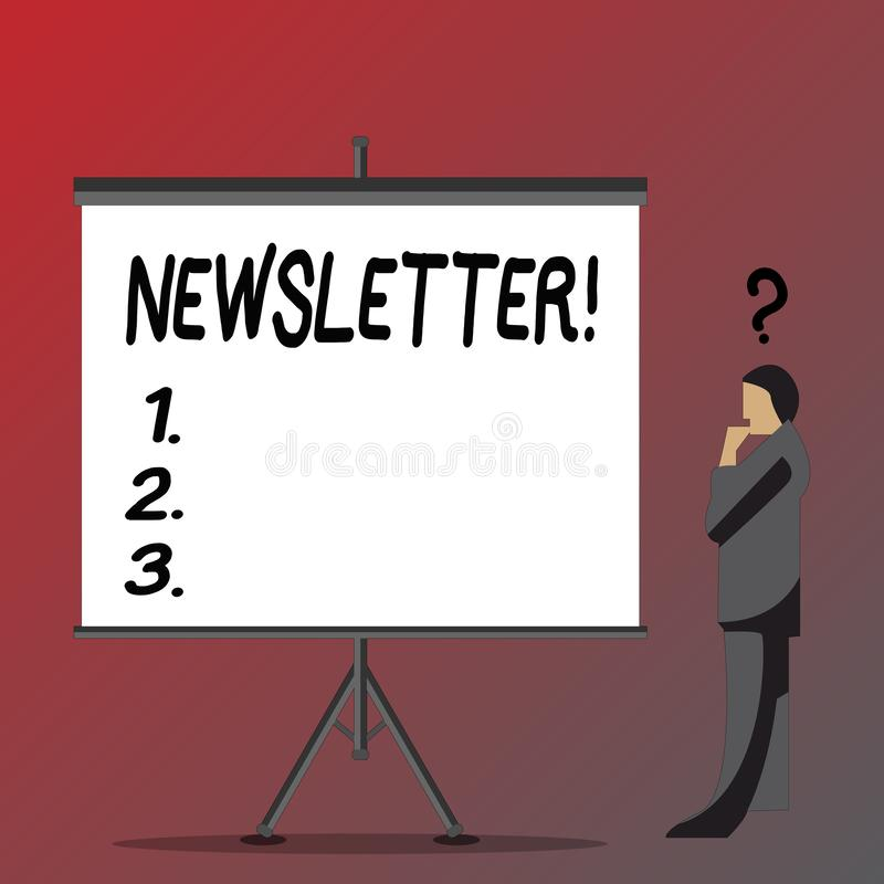 Text sign showing Newsletter. Conceptual photo Bulletin periodically sent to subscribed members News report Businessman stock illustration