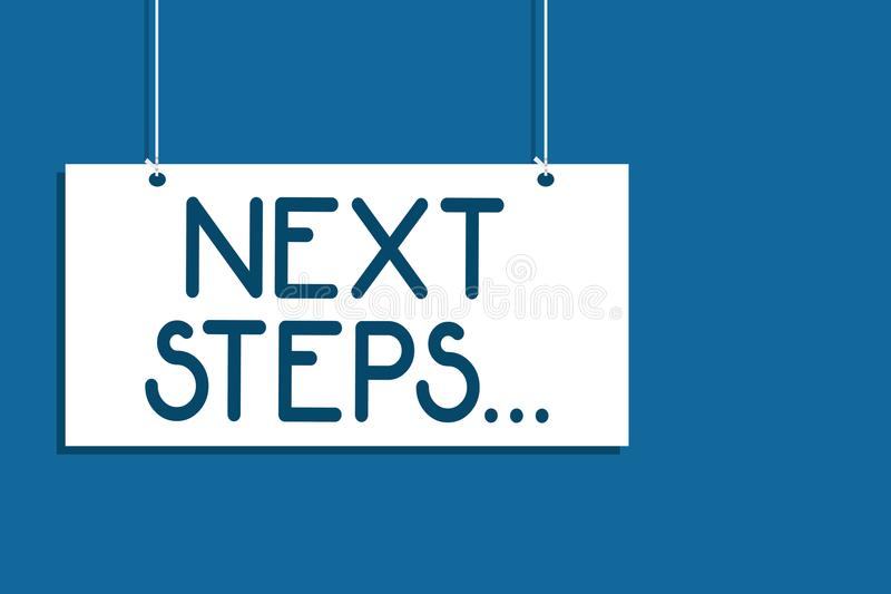 Text sign showing Next Steps . Conceptual photo numper of process going to be made after current one planning Hanging board commun vector illustration