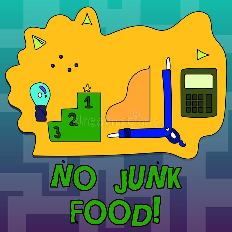 Text sign showing No Junk Food. Conceptual photo Stop eating unhealthy things go on a diet give up burgers fries. stock illustration