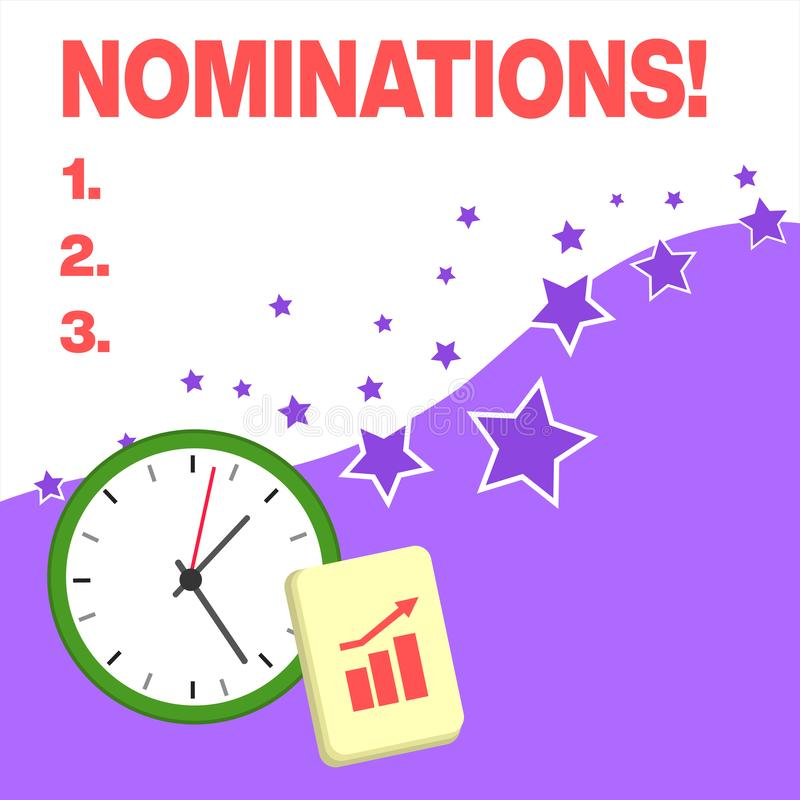 Text sign showing Nominations. Conceptual photo action of nominating or state being nominated for prize Layout Wall. Text sign showing Nominations. Business vector illustration