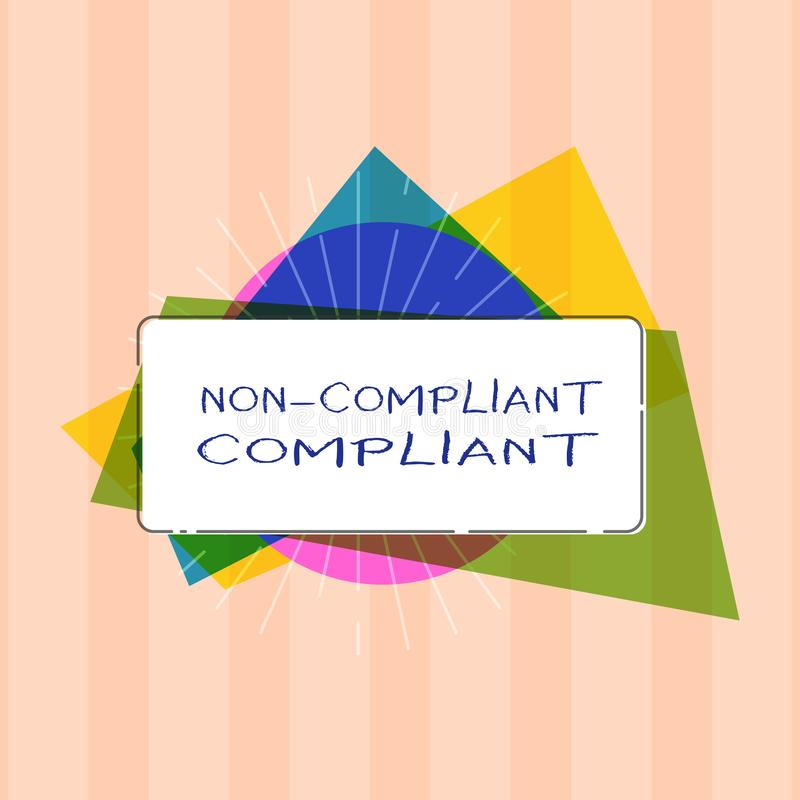 Text sign showing Non Compliant Compliant. Conceptual photo Resistant to the Rule in Accordance to Law.  royalty free stock image