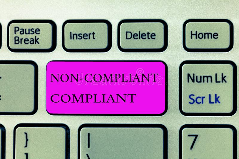 Text sign showing Non Compliant Compliant. Conceptual photo Resistant to the Rule in Accordance to Law.  royalty free stock photos