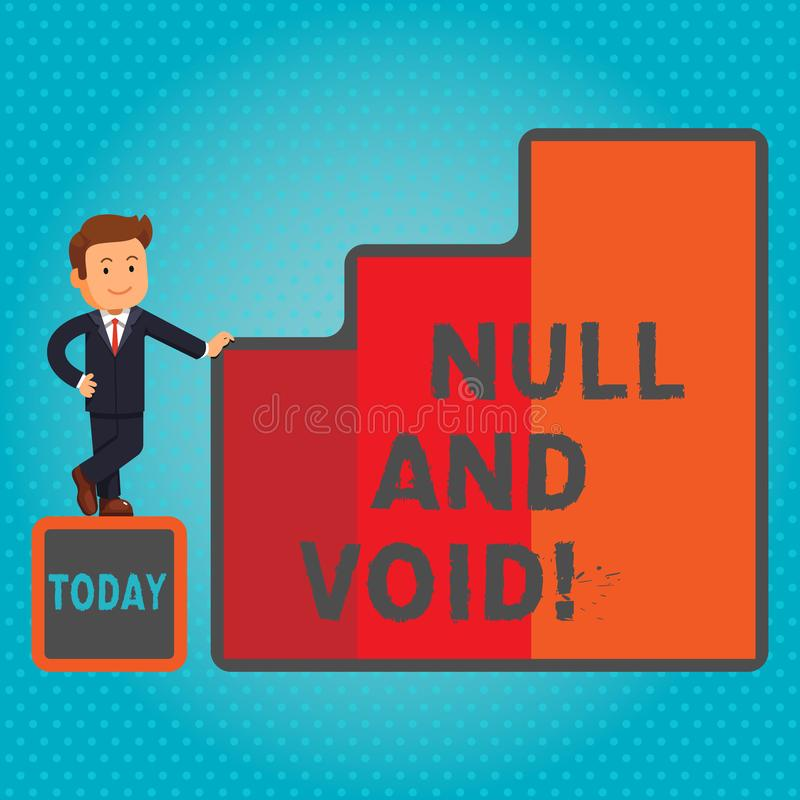 Text sign showing Null And Void. Conceptual photo Cancel a contract Having no legal force Invalid Ineffective. Text sign showing Null And Void. Conceptual photo royalty free illustration