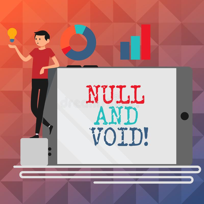 Text sign showing Null And Void. Conceptual photo Cancel a contract Having no legal force Invalid Ineffective. Text sign showing Null And Void. Conceptual photo stock illustration