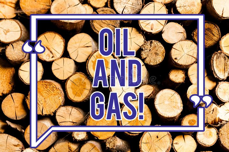 Text sign showing Oil And Gas. Conceptual photo Exploration Extraction Refining Marketing petroleum products Wooden background. Vintage wood wild message ideas stock image