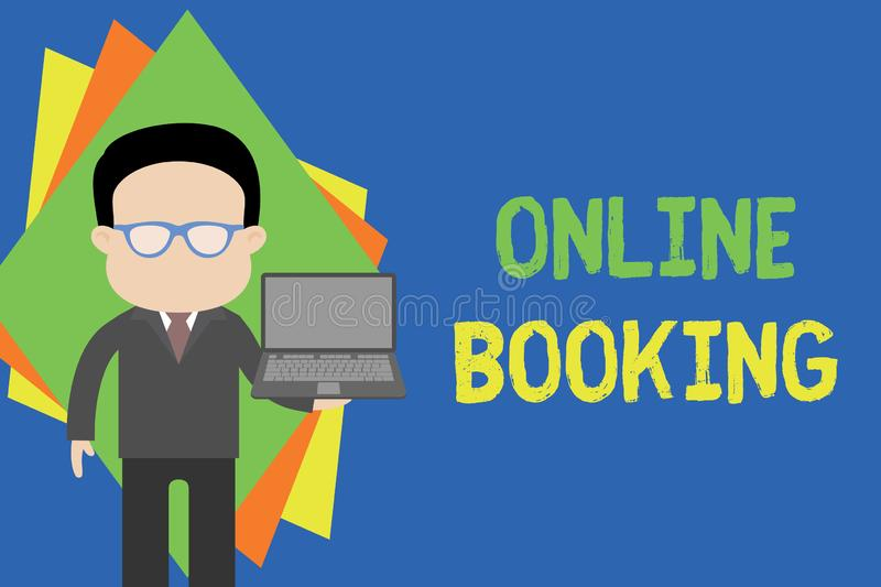 Text sign showing Online Booking. Conceptual photo Reservation through internet Hotel accommodation Plane ticket. Text sign showing Online Booking. Business vector illustration