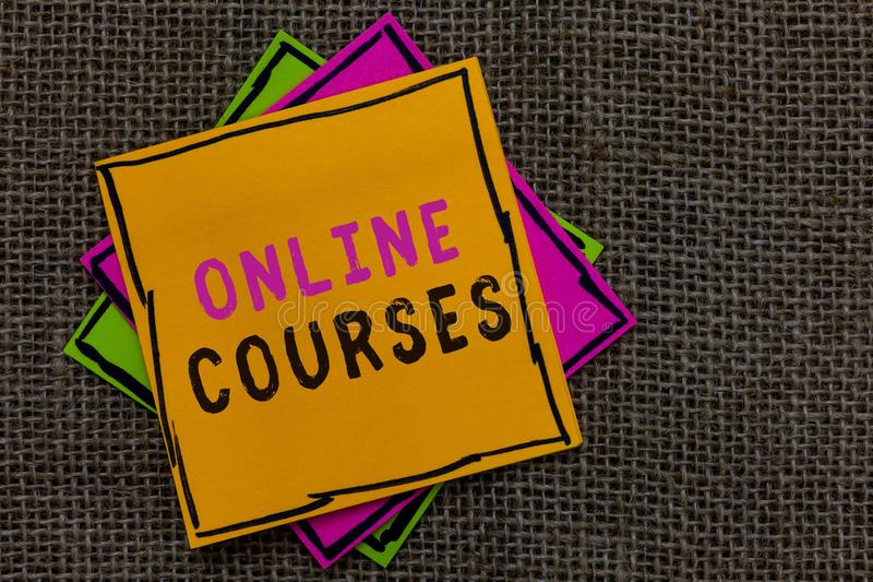 Text sign showing Online Courses. Conceptual photo Revolutionizing formal education Learning through internet Paper notes Importan stock photography