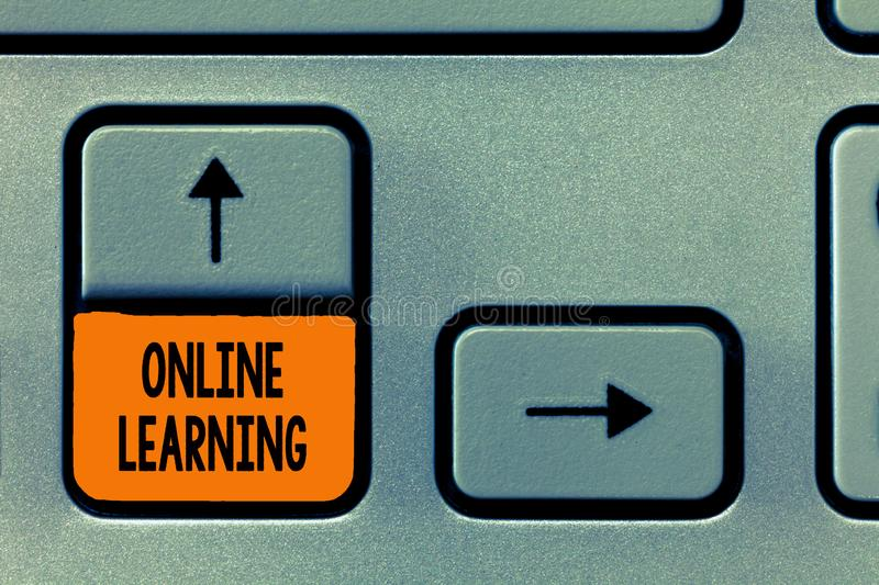 Text sign showing Online Learning. Conceptual photo Larning with the assistance of the Internet and a computer.  royalty free stock photo