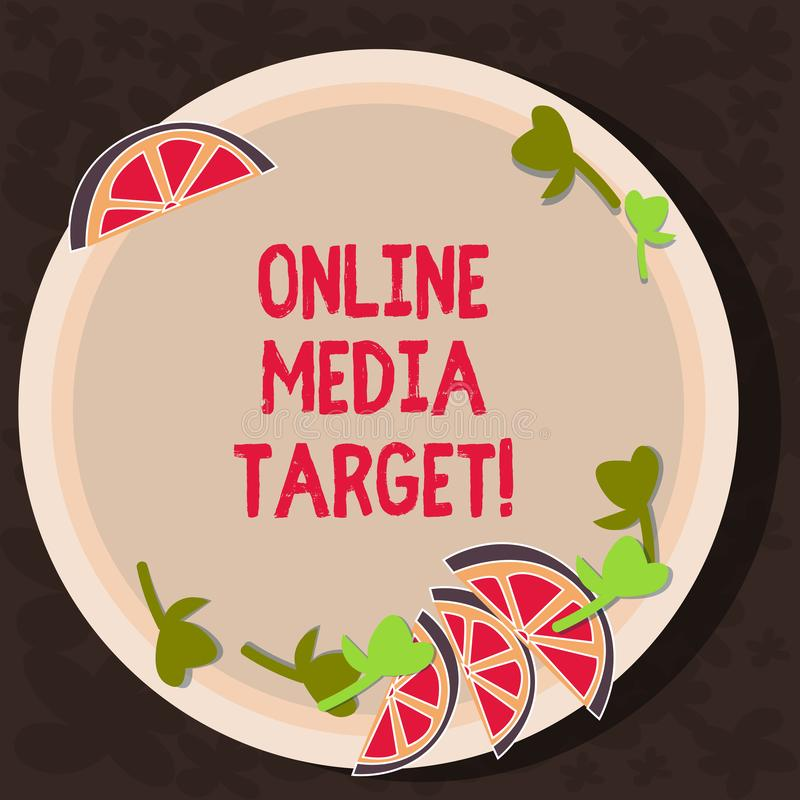Text sign showing Online Media Target. Conceptual photo intended audience or readership of publication Cutouts of Sliced. Lime Wedge and Herb Leaves on Blank stock illustration