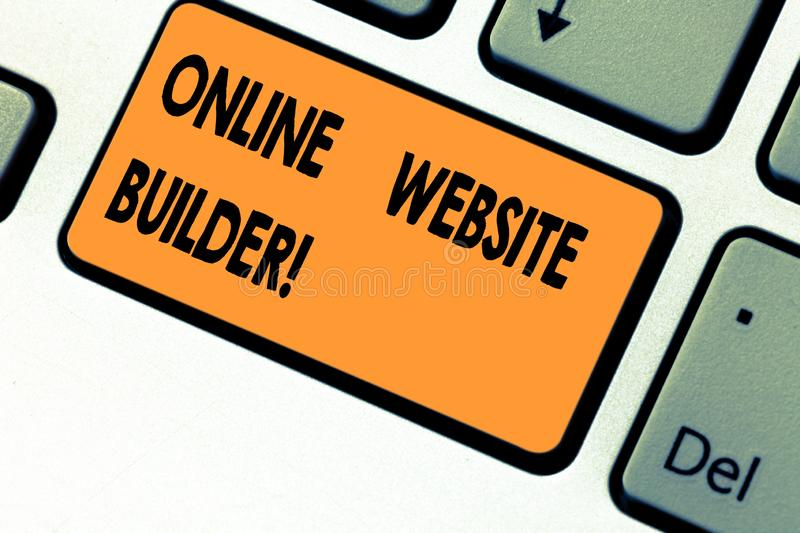 Text sign showing Online Website Builder. Conceptual photo Program or tool that help you construct a website Keyboard royalty free stock photos