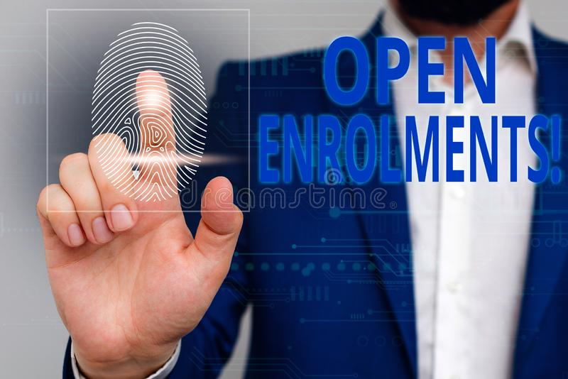 Text sign showing Open Enrolments. Conceptual photo when employees may make changes to elected fringe benefit Male human royalty free stock photo