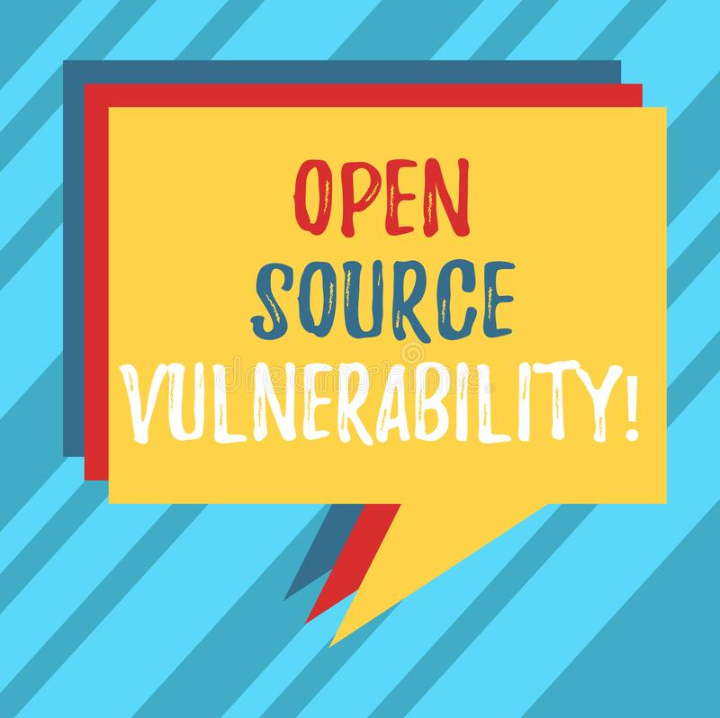 Text sign showing Open Source Vulnerability. Conceptual photo Publicized Exploits are open to malicious users Stack of Speech. Bubble Different Color Blank royalty free stock photography