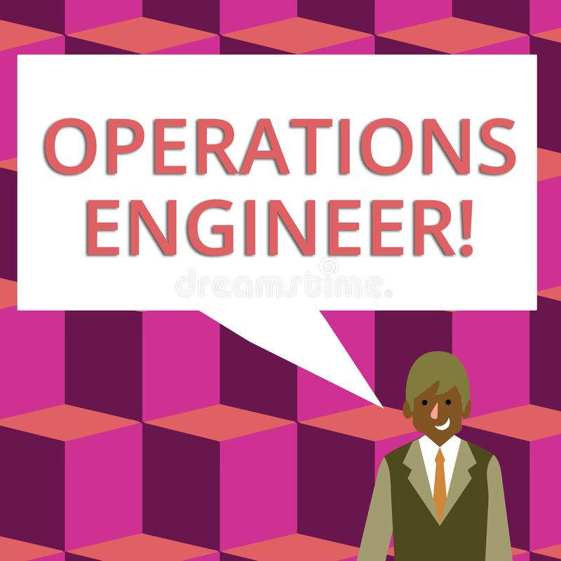 Text sign showing Operations Engineer. Conceptual photo analyze and design operation that will improve work flow. Text sign showing Operations Engineer. Business royalty free illustration