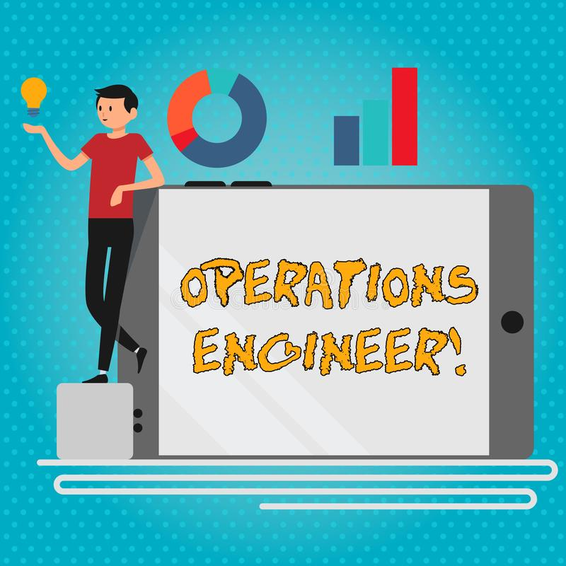 Text sign showing Operations Engineer. Conceptual photo analyze and design operation that will improve work flow Man. Text sign showing Operations Engineer stock illustration