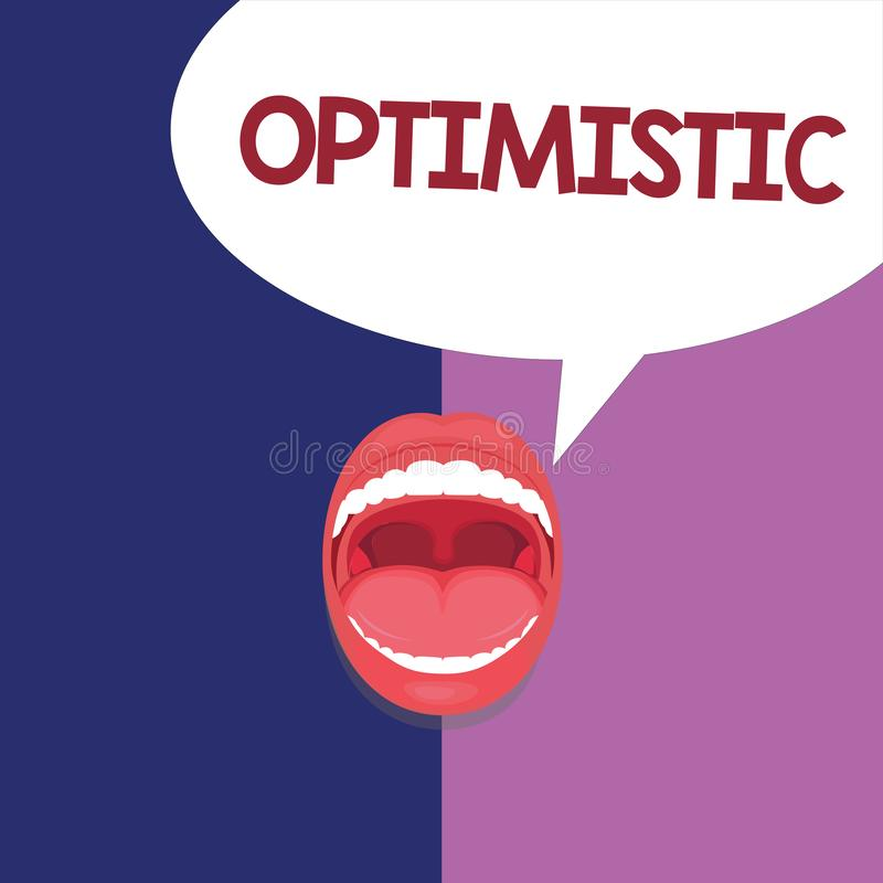 Text sign showing Optimistic. Conceptual photo Hopeful and confident about the future Positive thinking.  royalty free illustration