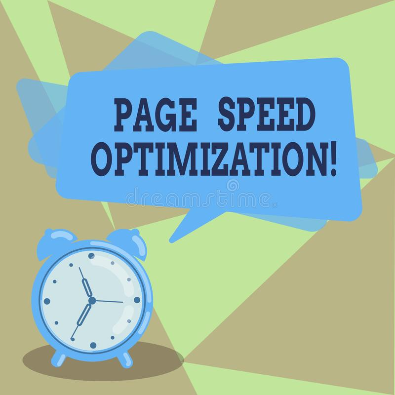 Text sign showing Page Speed Optimization. Conceptual photo Improve the speed of content loading in a webpage Blank. Rectangular Color Speech Bubble Overlay and royalty free illustration
