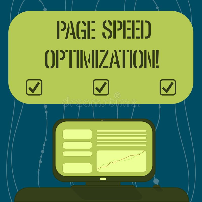 Text sign showing Page Speed Optimization. Conceptual photo Improve the speed of content loading in a webpage Mounted. Computer Screen with Line Graph on Desk stock illustration