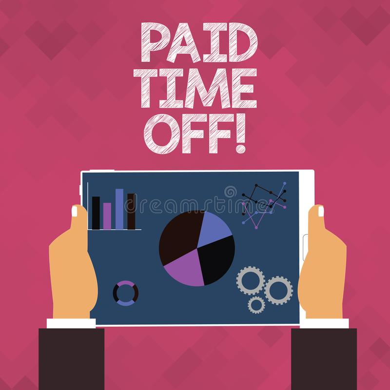 Text sign showing Paid Time Off. Conceptual photo vacation with full payment take vacation Resting Healing. Text sign showing Paid Time Off. Conceptual photo royalty free illustration