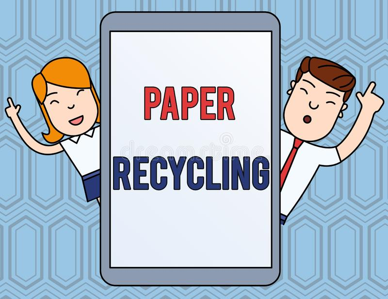 Text sign showing Paper Recycling. Conceptual photo Using the waste papers in a new way by recycling them Male and. Text sign showing Paper Recycling. Business vector illustration