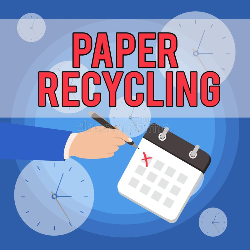 Text sign showing Paper Recycling. Conceptual photo Using the waste papers in a new way by recycling them Male Hand. Text sign showing Paper Recycling. Business royalty free illustration