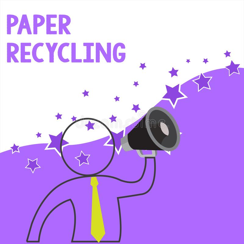 Text sign showing Paper Recycling. Conceptual photo Using the waste papers in a new way by recycling them Outline Symbol. Text sign showing Paper Recycling stock illustration