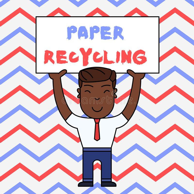 Text sign showing Paper Recycling. Conceptual photo Using the waste papers in a new way by recycling them Smiling Man. Text sign showing Paper Recycling royalty free illustration