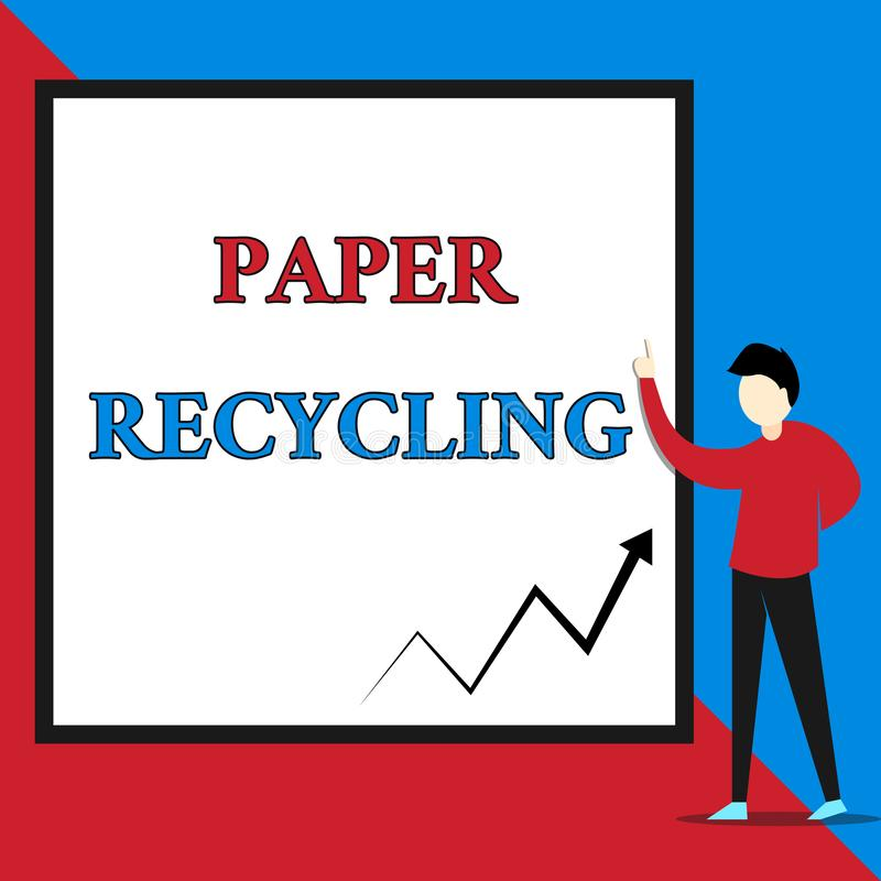Text sign showing Paper Recycling. Conceptual photo Using the waste papers in a new way by recycling them View young man. Text sign showing Paper Recycling stock illustration