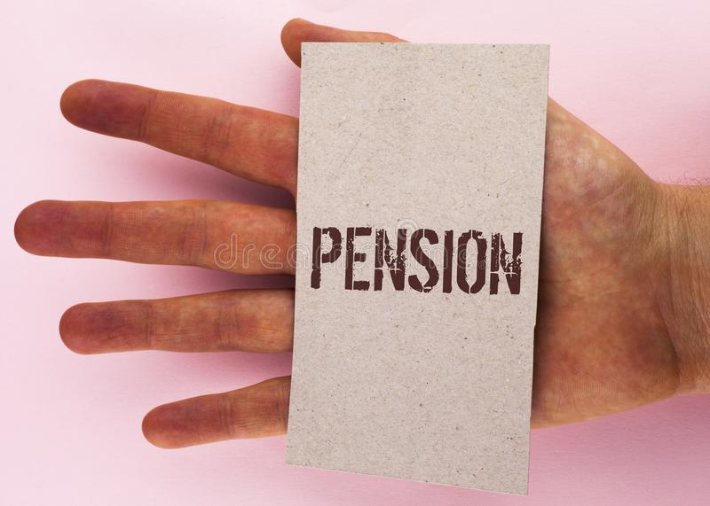 Text sign showing Pension. Conceptual photo Income seniors earn after retirement Saves for elderly years written on Cardboard Piec stock photo