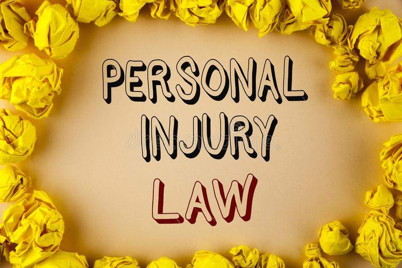 Text sign showing Personal Injury Law. Conceptual photo guarantee your rights in case of hazards or risks written on plain backgro. Text sign showing Personal stock photos