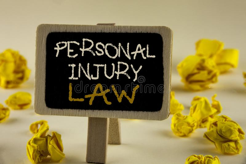 Text sign showing Personal Injury Law. Conceptual photo guarantee your rights in case of hazards or risks written on Wooden Notice. Text sign showing Personal stock photography