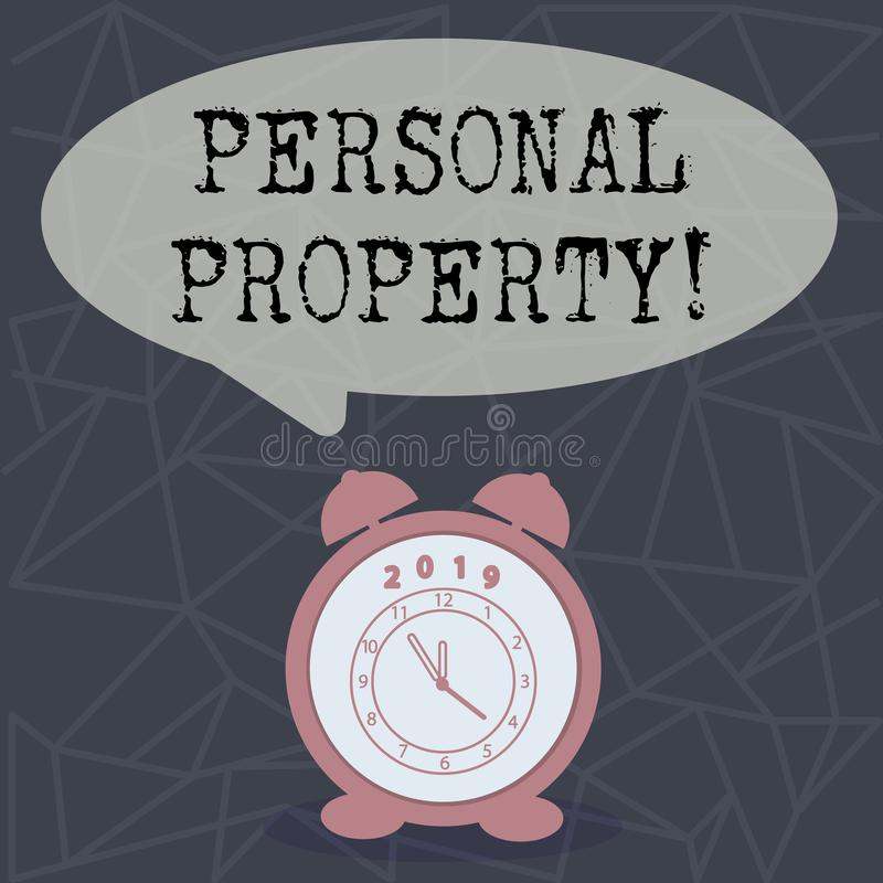 Text sign showing Personal Property. Conceptual photo Belongings possessions assets private individual owner. Text sign showing Personal Property. Conceptual royalty free illustration
