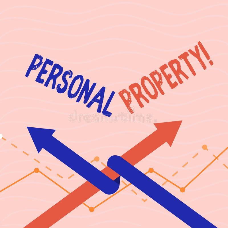 Text sign showing Personal Property. Conceptual photo Belongings possessions assets private individual owner. Text sign showing Personal Property. Conceptual stock illustration