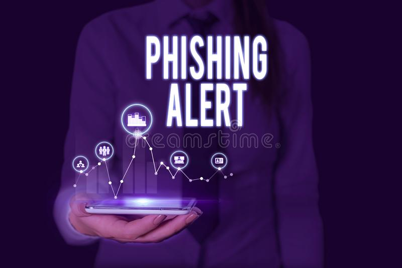 Text sign showing Phishing Alert. Conceptual photo aware to fraudulent attempt to obtain sensitive information Woman royalty free stock photo