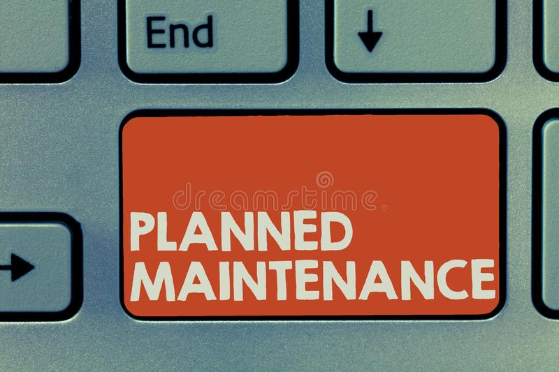 Text sign showing Planned Maintenance. Conceptual photo Check ups to be done Scheduled on a Regular Basis.  stock photos