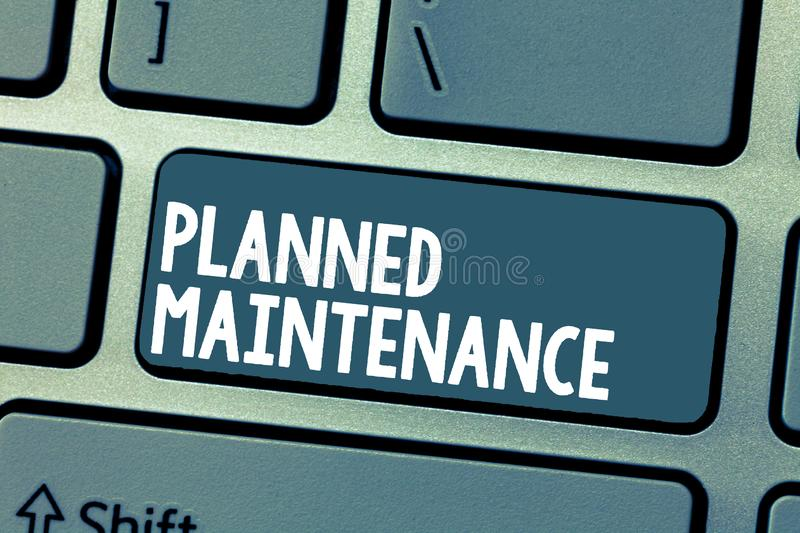 Text sign showing Planned Maintenance. Conceptual photo Check ups to be done Scheduled on a Regular Basis.  stock photography