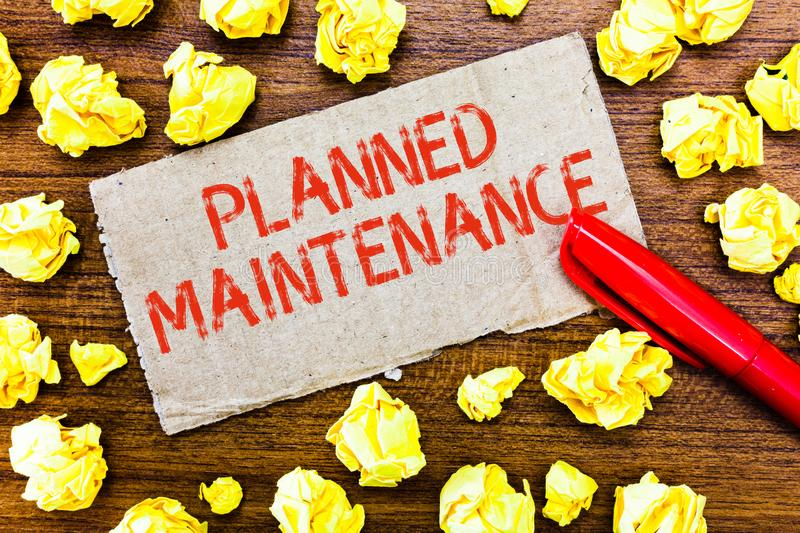 Text sign showing Planned Maintenance. Conceptual photo Check ups to be done Scheduled on a Regular Basis.  royalty free stock photo