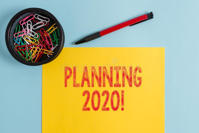 Text sign showing Planning 2020. Conceptual photo process of making plans for something next year. stock images